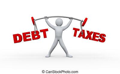 persona, debito, sollevamento, tasse, 3d