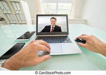 persona, detenere, videochat, uomo affari