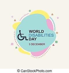 persona, disabilities., illustration., internazionale, giorno, vettore