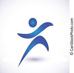 persona, en el movimiento, logotipo