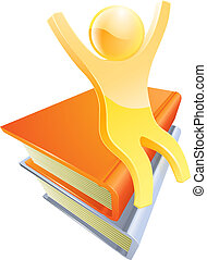 persona, en, libros, educación, concepto