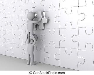 persona, encima de, otro, poniendo, último artículo, de, rompecabezas