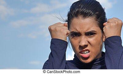 persona, enojado, latina