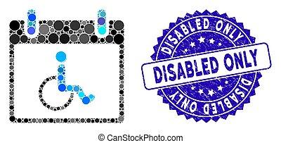 persona, grunge, giorno, soltanto, icona, calendario, francobollo, collage, invalido