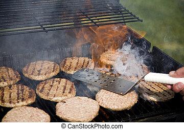 persona, hamburger, invertendo, bbq, durante