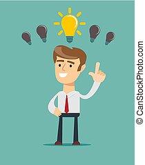 persona, idea luminosa, affari, detenere