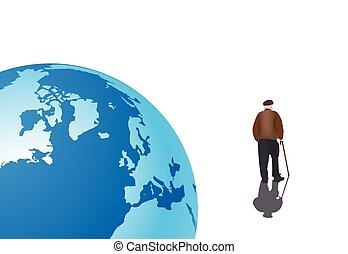 persona, lejos, soledad, anciano, paseos