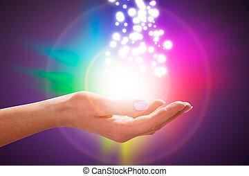 persona, mano, en, mágico, curación, energía, campo