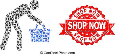 persona, mosaïque, magasin, acheteur, fatigué, covid, timbre...