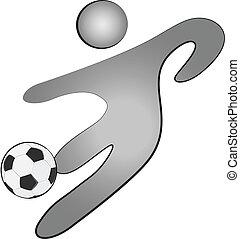 persona, palla calcio, logotipo