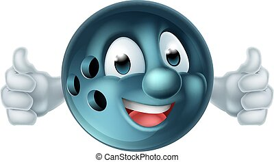 persona, palla, cartone animato, bowling