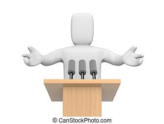 persona, parlante, 3d