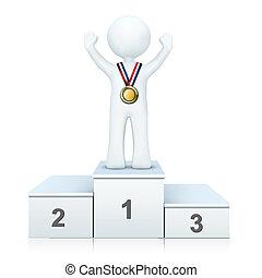 persona, podio, 3d, ganando