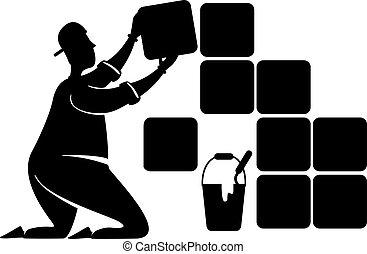 persona, pose., illustration., 2d, azulejos, impresión, colocar, reparación, renovation., reparador, silueta, carácter, caricatura, services., negro, trabajando, forma, cerámico, casa, vector, comercial, hogar, animación