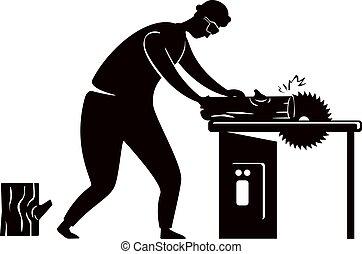 persona, pose., illustration., 2d, impresión, circular, carpintero, silueta, carácter, caricatura, negro, factótum, trabajando, forma, saw., repairs., artesano, vector, comercial, hogar, animación