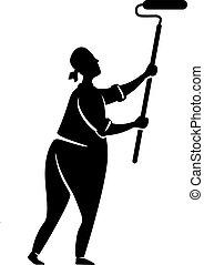 persona, pose., illustration., 2d, impresión, pintura, whitewash., silueta, carácter, caricatura, negro, factótum, trabajando, forma, repairs., vector, hombre, comercial, hogar, pared, animación, tipo