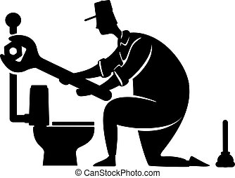 persona, pose., illustration., 2d, plomero, impresión, silueta, carácter, caricatura, instalación de cañerías, negro, factótum, wrench., trabajando, forma, repairs., vector, servicios, comercial, hogar, animación