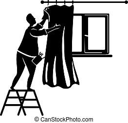 persona, pose., illustration., 2d, poniendo, impresión, cortinas, silueta, carácter, caricatura, interior., negro, factótum, trabajando, forma, repairs., decorar, vector, hombre, comercial, hogar, animación, tipo
