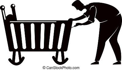 persona, pose., reparación, illustration., 2d, azulejos, bebé, impresión, reparador, papá, silueta, carácter, caricatura, screwdriver., negro, trabajando, forma, cuna, vector, cama, hombre, comercial, animación, fijación