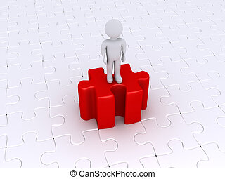persona, posición, en, alto, pedazo del rompecabezas