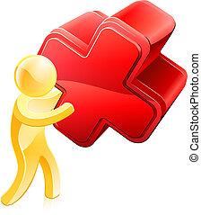 persona, presa a terra, croce rossa
