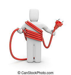persona, presa, cable., cableman