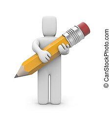 persona, presa, matita