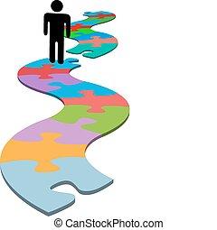 persona, problema, pezzo mancante, puzzle, trovare soluzione