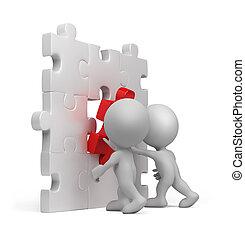 persona, puzzle, 3d, -, inserto
