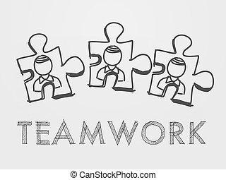 persona, puzzle, lavoro squadra, pezzi