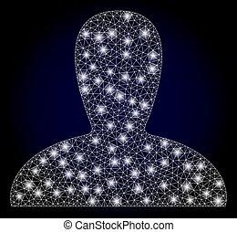 persona, réseau, taches, polygonal, lumière, frai, clair