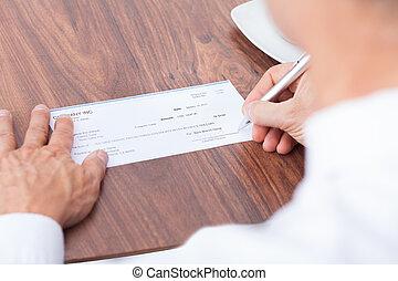 persona, relleno, cheque
