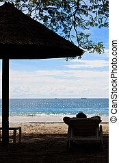 persona, rilassante, spiaggia, di, uno, isola tropicale