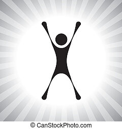 persona, saltare, con, gioia, secondo, vincente, uno,...