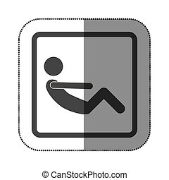 persona, sedere-ups, icona