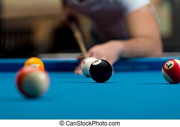 persona, snooker, joven, juego