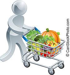 persona, spinta, carrello, con, verdura