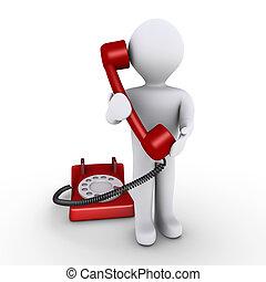 persona, telefono, tenere ricevente