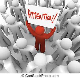 persona, tenencia, atención, señal, en, multitud, a, ser,...
