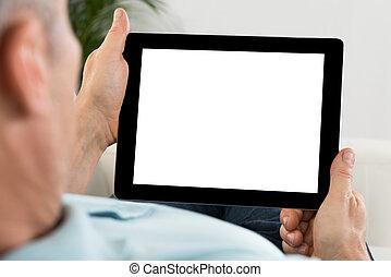 persona, tenencia de la mano, tableta, con, pantalla en blanco