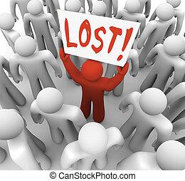 persona, tenencia, multitud, perdido, señal