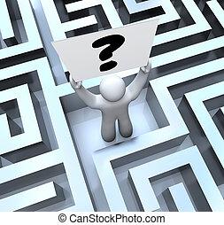 persona, tenencia, signo de interrogación, señal, perdido, en, laberinto, laberinto