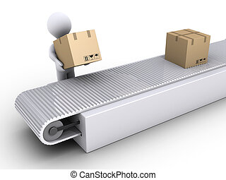 persona, trabaja, en, el, envío, de, cartón, cajas