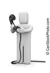 persona, tubo, presa, telefono