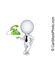 persona, vendemmia, telephone., 3d, piccolo