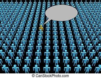 persona, voce, illustrazione, folla, uno