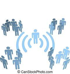 persona, wifi, collegamento fili, a, persone, gruppi