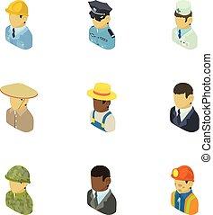 Personage icons set, isometric style