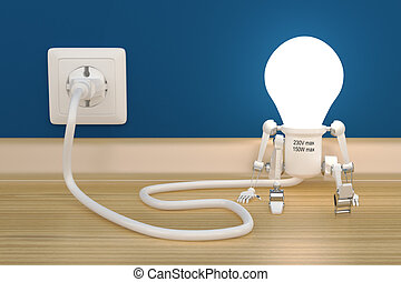 Personage robot lamp charge from electric outlet