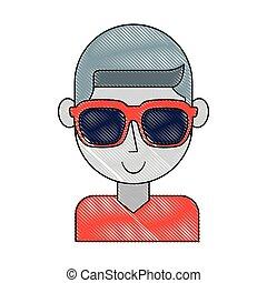 personagem, óculos de sol, homem jovem